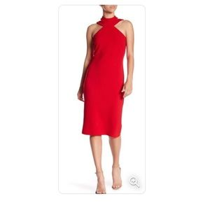 Bebe mock neck strappy crepe dress NWT